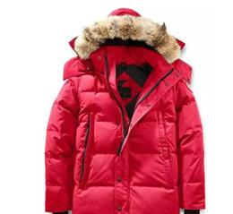 homens, s, ártico, parka Desconto Marca 2018 Jacket New Arrival Men s Wyndham de Down Parka Inverno Ártico Parka Marinha Preto Vermelho Verde externas Hoodies Brasão