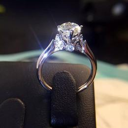 Joyas casadas online-2019 Nueva llegada anillo de diamantes Anillo de aleación de zinc del cisne casado mujer esterlina anillo de compromiso joyería de moda