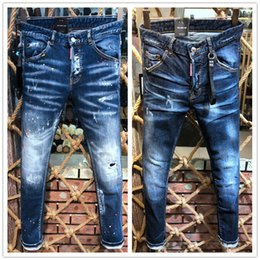 Trous de pantalon en Ligne-2019 dernière liste jeans skinny pour hommes trous déchirés jeans moto motard jeans pantalons hommes marque designer de mode hip hop jeans jeans