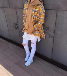 платье с ящиками Скидка Justin Bieber СТРАХ GOD фланель Шотландия Сетка с длинным рукавом рубашки Hiphop Extended Изогнутые Хем Крупногабаритные Мужчины рубашка красный желтый