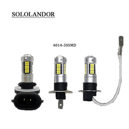 led auto lampe h3 Promotion SOLOLANDOR 2pcs voiture H3 LED brouillard ligh H3 880/881 30smd LED auto brouillard lampe drl 4014 lampe perles voiture source de lumière 12V 6500K