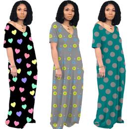 Dresse mulheres curtas on-line-Mulheres polka dot maxi dresse amor impressão v pescoço longo saia designer de roupas de outono de manga curta moda casual vestido solto hot selling1226
