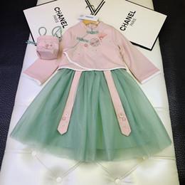 Conjuntos de ropa de niñas chinas online-Conjuntos de falda para niñas ropa de diseñador para niños top de cheongsam de estilo chino + falda de gasa elegante 2 piezas conjuntos de ropa de estilo chino de moda de otoño