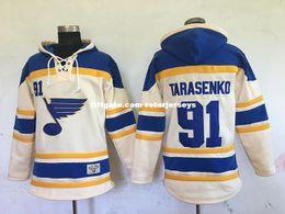 2019 hoodies di qualità a buon mercato Vendita calda Mens St. Louis Blues 91 Vladimir Tarasenko Blu Beige Best Quality Cheap Full Embroidery Logos Hockey su ghiaccio Hoodies sconti hoodies di qualità a buon mercato