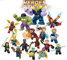 brinquedos do homem-aranha azul Desconto Big Decool Thanos Grande Anti Veneno Riot Carnage Lanterna Verde Hulk Buster Goblin Coisa Bloco de Construção Rocky Foguete Bloco de Construção
