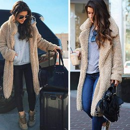 2019 maxi daunenmantel S-3XL Frauen-Winter-Sherpa-langer Mantel Fuzzy Fleece Jacke vorne offen Turn-down Collar Cardigan Outwear Maxi-Mode Kleidung Mäntel Warm günstig maxi daunenmantel