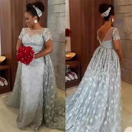 marrom escuro mãe vestidos de noiva Desconto Plus Size Sereia Prata Mãe de Vestidos de Noiva com Trem Destacável Cristais Sheer Neck Backless Mangas Curtas Vestidos de Noite AL2261
