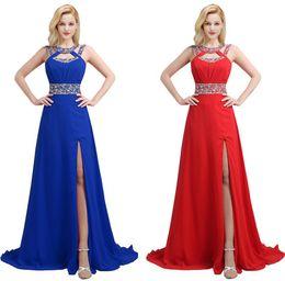 Abendkleider für billige kristalle online-Entwickelt Rote Abendkleider Crystals bördelte eine Linie Neckholder Split-Chiffon- lange Abend-Abschlussball-Kleider Günstige CPS121