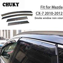 chevrolet aveo sonic Rebajas Chuky 4pcs refugios Ventana Styling ABS coche viseras Toldos protección contra la lluvia para el Mazda CX-7 2010 2011 2012 Accesorios para automóviles