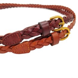 Women s woven leather belts en Ligne-Européenne nouvelle décoration tisser taille ma'am peau de vache véritable ceinture en cuir ceintures minces pour les femmes
