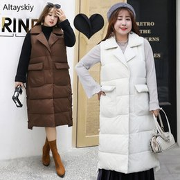 maglia donna lunga inverno Sconti Gilet Donna Slim Solid Cappotto lungo Simple Elegant Warm Over Size Donna Tasche stile coreano Outwear Vest Inverno Tempo libero Ladies
