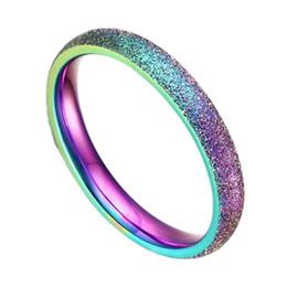 2019 semplici scrub Il colore dell'anello dell'acciaio inossidabile di modo dell'acciaio inossidabile di modo semplice sfrega la sabbiatura di colore dell'arcobaleno sconti semplici scrub