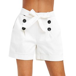 2019 calça branca de perna larga Shorts casuais Branco Cintura Bolso Twin Remendado Com Cinto Shorts Jeans Mulheres Verão 2019 Cintura Larga Perna Larga Sólida # E calça branca de perna larga barato