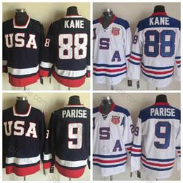 Jerseys cosidos de zach parise online-Camisetas del Equipo Olímpico de EE. UU. 2010 # 9 Zach Parise Jersey # 88 Patrick Kane Jersey Camisetas de calidad superior en azul blanco cosido
