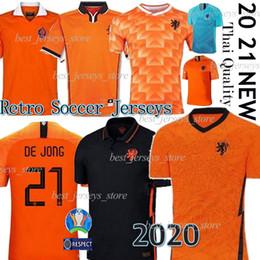 mangas compridas com camisa ronaldo Desconto 2020 2021 NetherlandsSoccer jerseys DE JONG Holanda kits de futebol miúdo camisa van Dijk Virgil Camisas de futebol Retro de Futebol uniformes