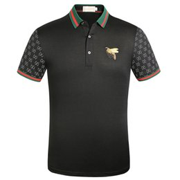 Sans broderie en Ligne-T-shirt rayé polo brodé bee shirt hommes vêtements de marque libre col turn-down casual hommes tshirt tee shirt 966