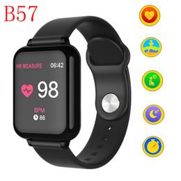 telefoni per anziani Sconti Gli orologi astuti del motociclo dell'inseguitore di idoneità delle donne B57 impermeabilizza lo sport per le funzioni di pressione sanguigna del monitor di frequenza cardiaca del telefono Android di IOS Android