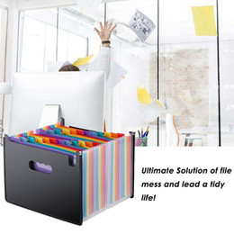 2021 arquivo de suporte de papel Rainbow Organ Business File Organizer Portable 24 Pocket Expanding File Holder A4 Paper Organizer Storage Bag Office