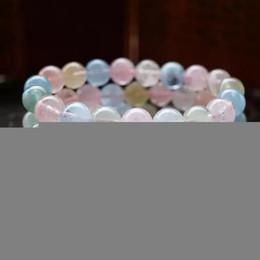 Klare stein armband online-Natürliche Kristallchakren Armband Schmuck Schwarz Karneol Clear Carter Morganite Stein Armbänder Perlen Stretchy Bileklik Pulseras