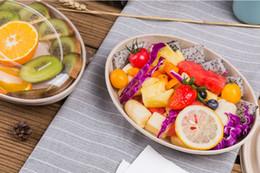 Contentores de transporte descartáveis on-line-Wheatstraw Descartáveis Retire Recipiente BPA Placas Livres Máquina de Lavar Louça Placa de Microondas para Salada de Lanche de Frutas