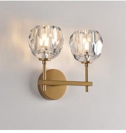 Verspiegelte nachttischlampen online-Moderne RH K9 Kristall Led Wandleuchte Licht für Schlafzimmer Wohnkultur Wandleuchte Nachttischlampe Leuchte Spiegel Leuchten