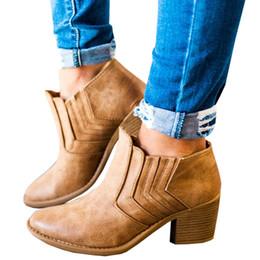Canada 2018 nouvelles femmes bottines bloc talons hauts Botas Zapatos Mujer rétro en cuir chaussures d'hiver femme plus la taille bottines bottes de cow-boy Offre