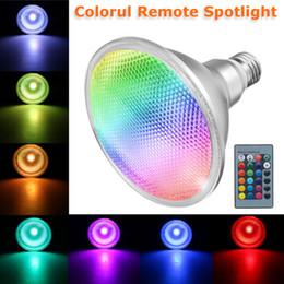 2019 iluminação de energia E27 PAR38 Spotlight RGB Color Mudando CONDUZIU a Lâmpada de Luz Lâmpada de Controle Remoto de Controle Remoto de 20 W de Conservação de Energia Lâmpada LED desconto iluminação de energia