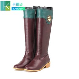 New PU Leather model clothes Women Knee Boots Decorazione in metallo Sexy Tacchi alti Donna Scarpe Primavera autunno Stivali taglia33-43 da