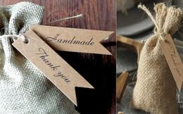 favores de comida Desconto 100 PCS Handmade Obrigado Etiquetas Etiquetas De Papel Kraft Para DIY Artesanato Artesanais Favores Do Partido Acessórios Do Presente