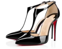 Hot Sale-Red Bottom Damen handgemachte Mode 120mm T String spitzen Knöchelriemen High Heel Pump Sandalen schwarze Schuhe L027 von Fabrikanten