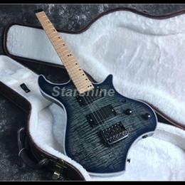 Parte superior de arce de cuerpo hueco online-2019 Nueva guitarra eléctrica sin cabeza F Hole Semi Hollow Body Black Hardware Flamed Maple Top Active Pickups