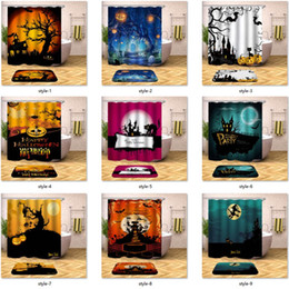 modern shower curtain Promo Codes - Halloween Shower Curtain Horror Ghost Pumpkin Moon Bathroom Shower Curtain Waterproof Polyester Fabric with 12pcs Hooks 180X180cm