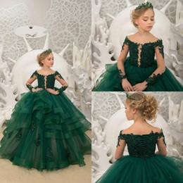 a2b019679d35c75 Темно-зеленый цветок девушки платья для свадьбы с длинными рукавами  принцессы театрализованное платье зашнуровать блестки оборками малышей  подростки дети ...