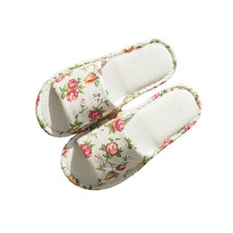 e0a2c109f Ladies Simple Linen Slippers Spring Autumn Home Lightweight Rose Cute Cat  Pattern Open Toe Slipper Indoor Non-slip Soft Slippers