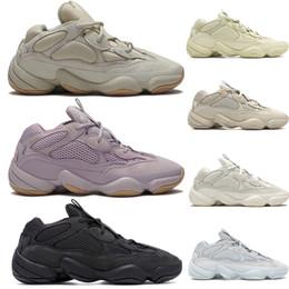 Nouveau désert Rat 500 vision douce chaussures de course à l ouest de kanye pierre blanche utilité os sel noir hommes réfléchissants 3M femmes