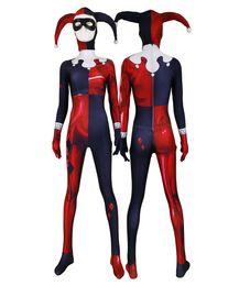 mädchen superhelden kostüme kinder Rabatt Erwachsene Frauen Kinder Red Jester Mädchen Harley Quinn Cosplay Overall Halloween Anime Moive Superheld Kostüm Zentai Overall Bodysuit Anzug