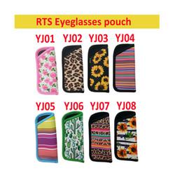 Bolsitas para gafas online-8 estilos RTS Eyeglasses Pouch Cactus Leopard Print Rainbow Sunflower Neoprene bag Portable Travel Storage Bag Eyeglasses Accessories FFA2795