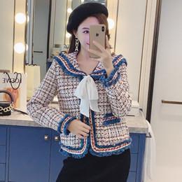 Jaqueta de marinheiro on-line-Nova Primavera e Sailor Collar Tweed paletó feminino casaco meninas curva da manta de lã Jacket Retro Suit Coats SH190930 das mulheres outono