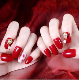 Hermosa Novia Decoración De Uñas 3d Rhinestone Arte Completo Arte De Uñas Diseño De Lujo Euro Diseño Elegante Uñas Rojas 24 Piezas Reusale De Larga