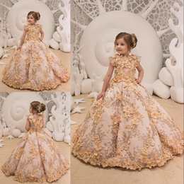kids red evening gowns Promo Codes - Princess Flower Girl Dresses For Wedding Lace 3D Floral Appliques Kids Glitz Girls Pageant Gowns Teens Prom Evening Party Dress