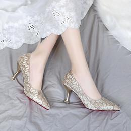Robes de demoiselles d'honneur coréens en Ligne-Chaussures habillées pointues talons aiguilles 2019 New Simple Elegant Womens Korean Fashion sauvage unique rouge demoiselle d'honneur de mariage