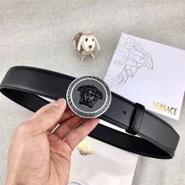 Herren lederbekleidung online-Verkaufen Herren Freizeit Business Gold Silber Porträt Kopf Button Design feine Verarbeitung schwarz braun Ledergürtel bequeme Abnutzung ohne Box