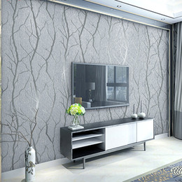 Veludo rebanho wallpaper on-line-Grey 3d Embossed Esmagado Velvet Wallpaper Luxo Quarto Sala Wall Decor Wall Paper reunido Brown