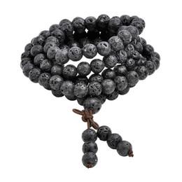 Тибетский бисера ожерелье онлайн-Горячий шарик браслеты 6 мм 8 мм природный Лава рок камень исцеление камень 108 буддийский молитва бусины Тибетский мала браслет ожерелье