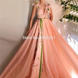 Peach Flowers Sashes A-Line robes de soirée 2019 col en V Sexy Tulle musulman islamique Dubaï Prom robes de soirée à la main robe de soirée ? partir de fabricateur