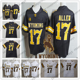 Jersey dei capretti poco costosi online-NCAA Wyoming Cowboys # 17 Josh Allen Marrone Bianco Jersey Caffè economici College Football Stitcehd No Nome Uomini Giovani Kid Donne Adulto S-3XL