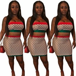 Wholesale YT3113 high end hot europea e americana esplosioni donne tubo rosso e verde vestito a due pezzi vestito gonna moda donna
