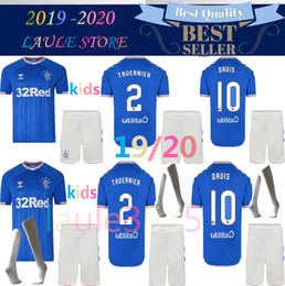 Рейнджеры майки детские онлайн-2019 2020 Дети Rangers FC Home Blue Футбол Джерси 19 20 детей Глазго Rangers Away KENT Футбольные майки Футболка молодежная BOYS Sadiq Morelos