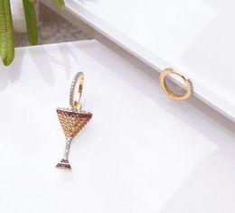 Стерлинговое вино онлайн-luxury jewelry S925 sterling silver needle earrings Wine glass shape Asymmetrical charm stud earrings for women hot fashion