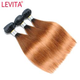 Canada LEVITA # T1B / 33 2T Ombre Droite Péruvienne Vierge Cheveux Tisse Noir / Brun 3 Faisceaux Extension de Cheveux Humains 12-18 Pouce Prix Usine cheap extension wholesalers Offre